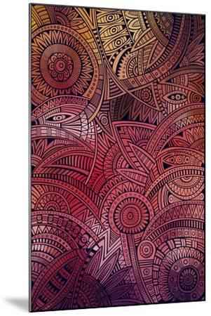 Abstract Vector Tribal Ethnic Background Pattern- balabolka-Mounted Art Print