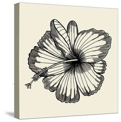 Beautiful Lily Painted in a Graphic Style Points and Lines. A Great Figure for a Tattoo- frescomovie-Stretched Canvas Print