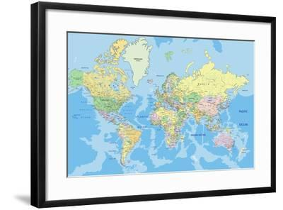 Highly Detailed Political World Map with Labeling. Vector Illustration.-Bardocz Peter-Framed Premium Giclee Print