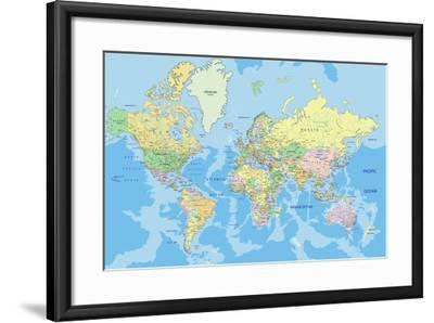 Highly Detailed Political World Map with Labeling. Vector Illustration.-Bardocz Peter-Framed Art Print