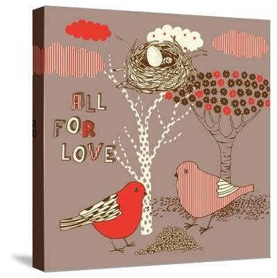 Love Background with Birds-Lavandaart-Stretched Canvas Print