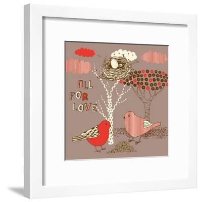 Love Background with Birds-Lavandaart-Framed Art Print