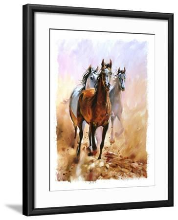 Horse Equestrian Passion Oil Painting Torn Edges-Marc Little-Framed Art Print