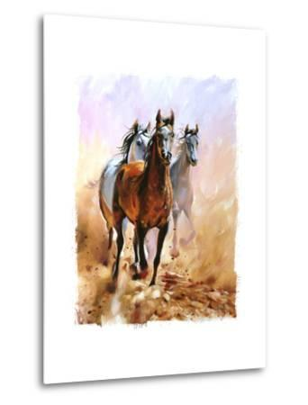 Horse Equestrian Passion Oil Painting Torn Edges-Marc Little-Metal Print