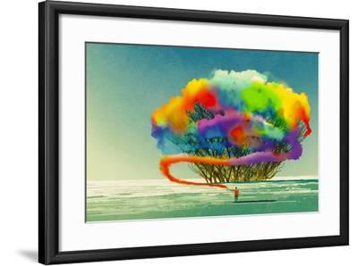 Man Draws Abstract Tree with Colorful Smoke Flare,Illustration Painting-Tithi Luadthong-Framed Art Print