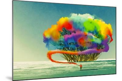 Man Draws Abstract Tree with Colorful Smoke Flare,Illustration Painting-Tithi Luadthong-Mounted Art Print