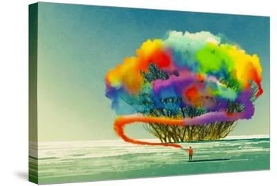 Man Draws Abstract Tree with Colorful Smoke Flare,Illustration Painting-Tithi Luadthong-Stretched Canvas Print
