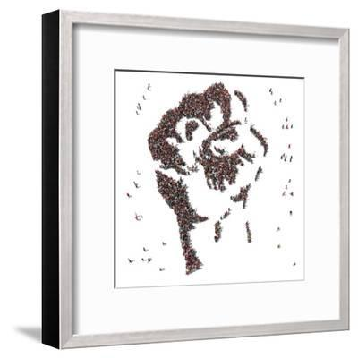 Aerial View of Fist Symbol Drawn out of People Protesting- Arthimedes-Framed Art Print
