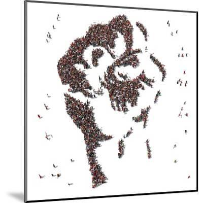 Aerial View of Fist Symbol Drawn out of People Protesting- Arthimedes-Mounted Art Print