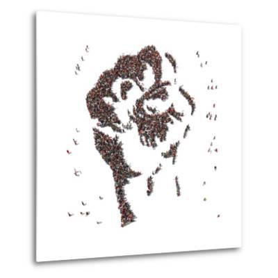 Aerial View of Fist Symbol Drawn out of People Protesting- Arthimedes-Metal Print