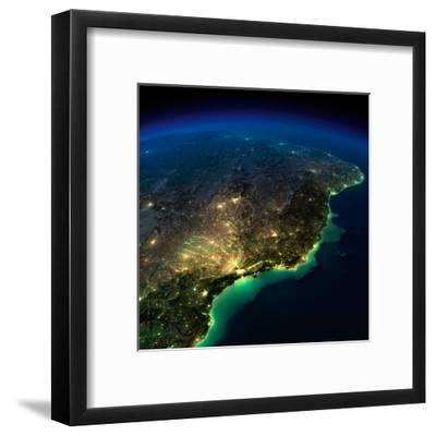 Highly Detailed Earth, Illuminated by Moonlight. the Glow of Cities Sheds Light on the Exaggerated-Anton Balazh-Framed Art Print