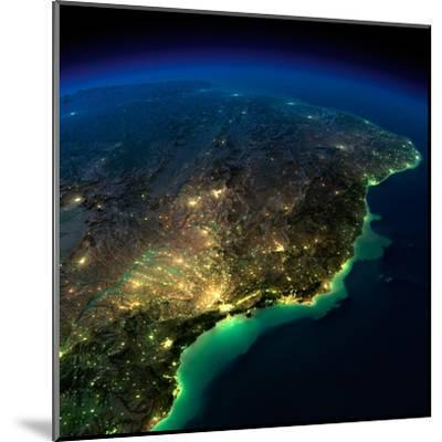 Highly Detailed Earth, Illuminated by Moonlight. the Glow of Cities Sheds Light on the Exaggerated-Anton Balazh-Mounted Art Print