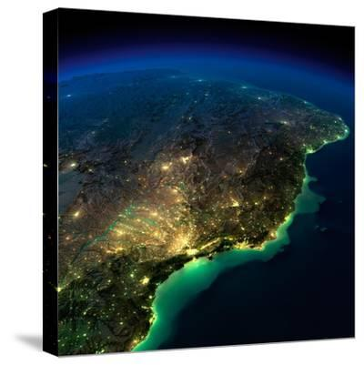 Highly Detailed Earth, Illuminated by Moonlight. the Glow of Cities Sheds Light on the Exaggerated-Anton Balazh-Stretched Canvas Print