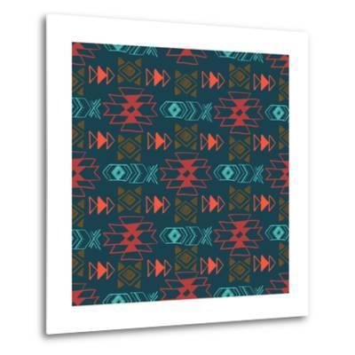 Native American Seamless Pattern with Abstract Aztec Symbols. Colored Hand Drawn Doodle Vector Back- Lianella-Metal Print