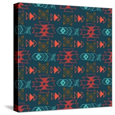 Native American Seamless Pattern with Abstract Aztec Symbols. Colored Hand Drawn Doodle Vector Back- Lianella-Stretched Canvas Print
