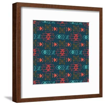 Native American Seamless Pattern with Abstract Aztec Symbols. Colored Hand Drawn Doodle Vector Back- Lianella-Framed Art Print
