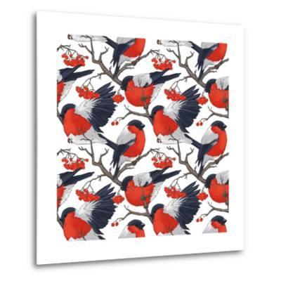 Bullfinch Bird Winter Illustration Seamless Pattern- DoubleBubble-Metal Print