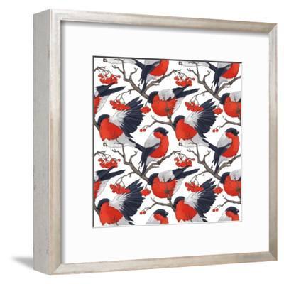 Bullfinch Bird Winter Illustration Seamless Pattern- DoubleBubble-Framed Art Print