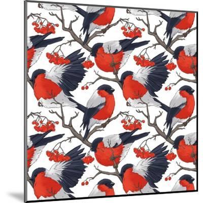 Bullfinch Bird Winter Illustration Seamless Pattern- DoubleBubble-Mounted Art Print