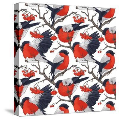 Bullfinch Bird Winter Illustration Seamless Pattern- DoubleBubble-Stretched Canvas Print