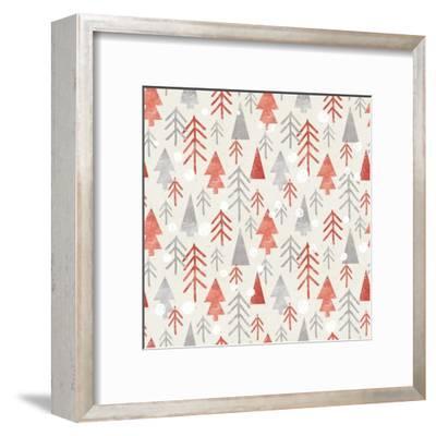 Seamless Christmas Pattern on Paper Texture. Winter Background.- Irtsya-Framed Art Print