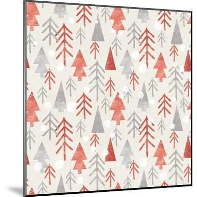 Seamless Christmas Pattern on Paper Texture. Winter Background.- Irtsya-Mounted Art Print
