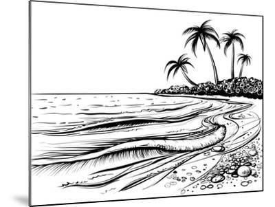 Ocean or Sea Beach with Waves, Sketch. Black and White Vector Illustration of Sea Shore with Palms.- Melok-Mounted Art Print