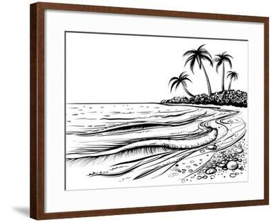 Ocean or Sea Beach with Waves, Sketch. Black and White Vector Illustration of Sea Shore with Palms.- Melok-Framed Art Print