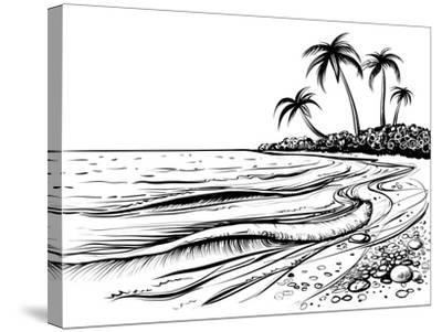 Ocean or Sea Beach with Waves, Sketch. Black and White Vector Illustration of Sea Shore with Palms.- Melok-Stretched Canvas Print