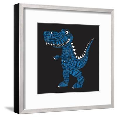 Dinosaur Illustration, Typography, T-Shirt Graphics, Vectors- Syquallo-Framed Art Print
