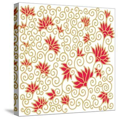 Decorative Floral Composition with Pomegranate Flowers-aniana-Stretched Canvas Print