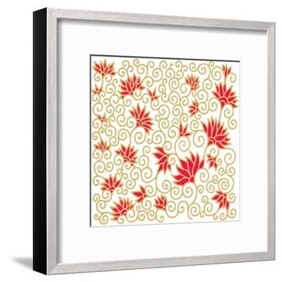 Decorative Floral Composition with Pomegranate Flowers-aniana-Framed Art Print
