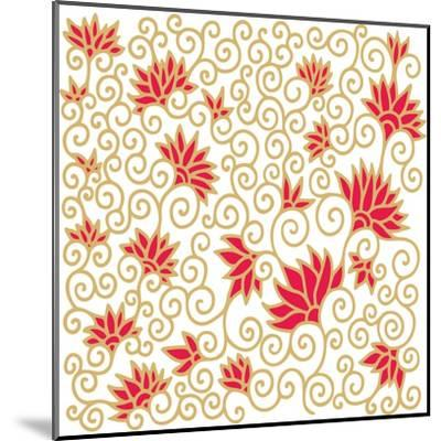 Decorative Floral Composition with Pomegranate Flowers-aniana-Mounted Art Print