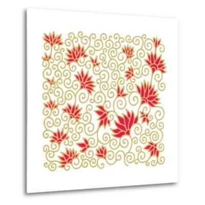 Decorative Floral Composition with Pomegranate Flowers-aniana-Metal Print