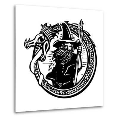Woodcut Style Image of a Wizard in a an Encircling Dragon-Jef Thompson-Metal Print