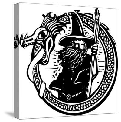 Woodcut Style Image of a Wizard in a an Encircling Dragon-Jef Thompson-Stretched Canvas Print