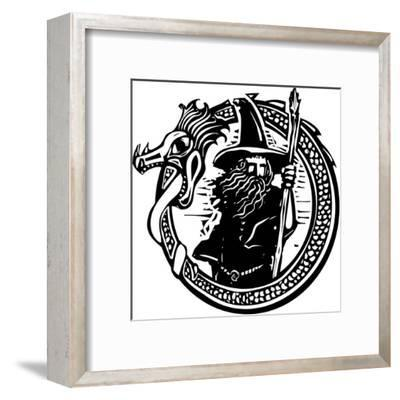 Woodcut Style Image of a Wizard in a an Encircling Dragon-Jef Thompson-Framed Art Print