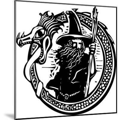 Woodcut Style Image of a Wizard in a an Encircling Dragon-Jef Thompson-Mounted Art Print