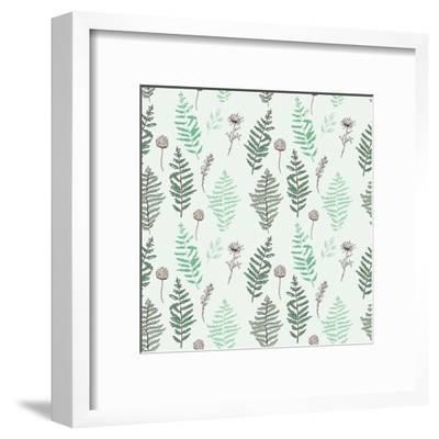 Fern Seamless Pattern. Botanical Illustration with Fern Leaves on White Background. Design Elements- esk1m0-Framed Art Print