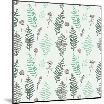 Fern Seamless Pattern. Botanical Illustration with Fern Leaves on White Background. Design Elements- esk1m0-Mounted Art Print
