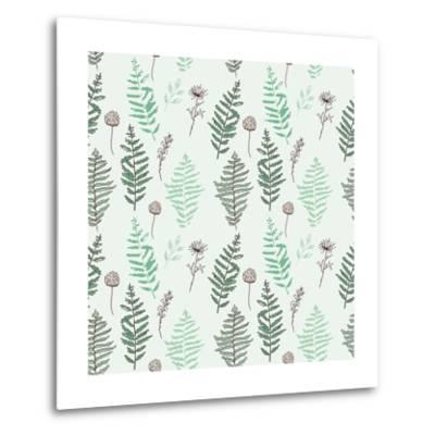 Fern Seamless Pattern. Botanical Illustration with Fern Leaves on White Background. Design Elements- esk1m0-Metal Print