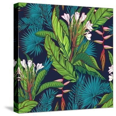 Tropical Jungle Seamless Pattern on Dark Blue Background-Anton V Tokarev-Stretched Canvas Print