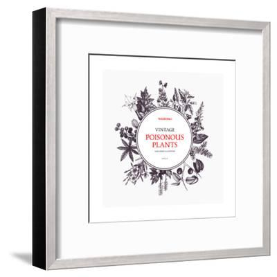 Vector Frame Design with Hand Drawn Poisonous Plants. Vintage Noxious Plants Sketch Background. Bot-geraria-Framed Art Print