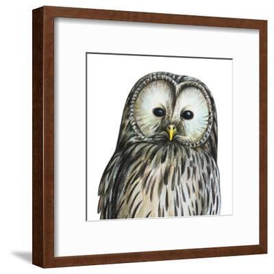 Gray Owl Portrait Drawing- viktoriya_art-Framed Art Print