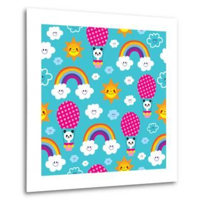Baby Panda Bear in Hot Air Balloon - Seamless Pattern-Alias Ching-Metal Print