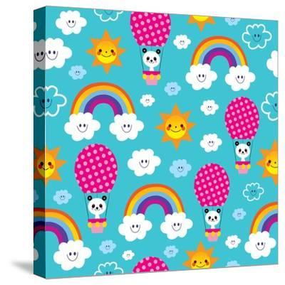 Baby Panda Bear in Hot Air Balloon - Seamless Pattern-Alias Ching-Stretched Canvas Print