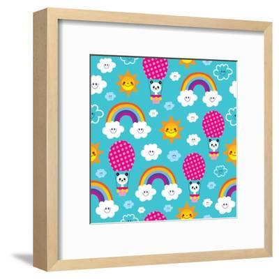 Baby Panda Bear in Hot Air Balloon - Seamless Pattern-Alias Ching-Framed Art Print