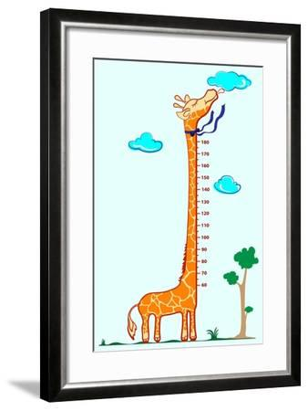 Kids Height Scale in Giraffe Vector Illustration-Roberto Chicano-Framed Art Print