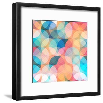 Colored Circle Seamless Pattern- gudinny-Framed Art Print