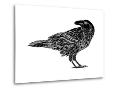 Stylized Crows. Decorative Bird. Line Art. Rook. Black and White Drawing by Hand. Doodle. Zentangle-In Art-Metal Print